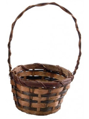 "Bamboo Basket 6"" Round w/Hdl"
