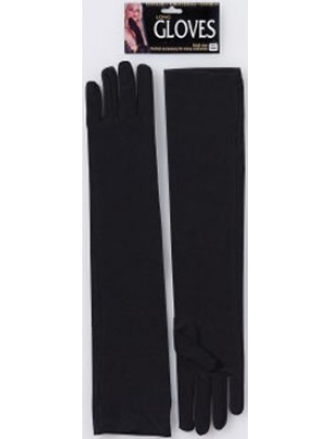 Black Long Nylon Gloves