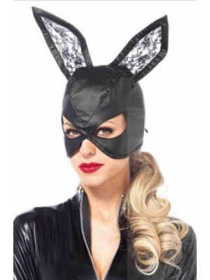 Faux Leather Bunny Mask Black