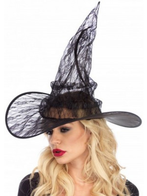 Lace Witch Hat Black
