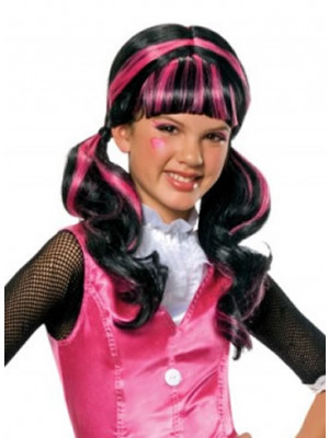 Draculaura Pink/Blk Wig Child
