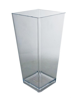 "Square Tapered 9"" Vase Clear"