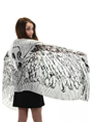 Feather Wings Scarf White