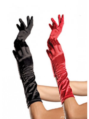 Elbow Length Satin Glove Red